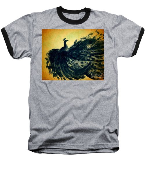 Baseball T-Shirt featuring the painting Dancing Peacock Gold by Anita Lewis