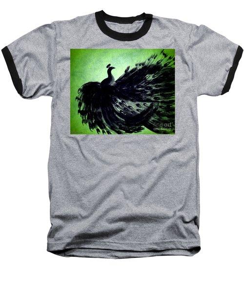 Dancing Peacock Green Baseball T-Shirt by Anita Lewis