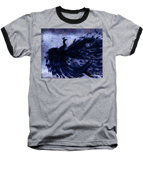 Baseball T-Shirt featuring the painting Dancing Peacock Navy by Anita Lewis