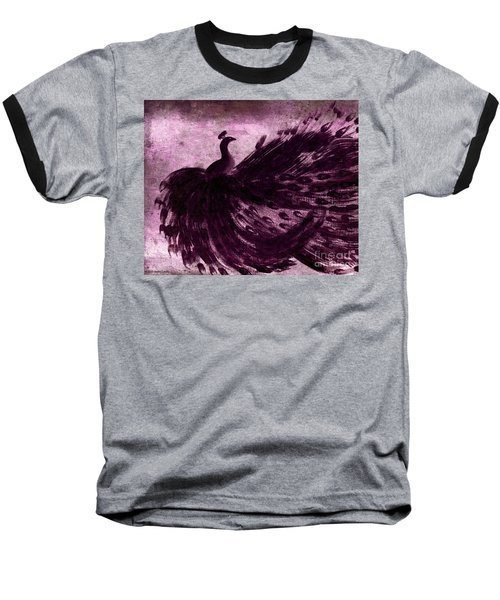 Dancing Peacock Plum Baseball T-Shirt by Anita Lewis