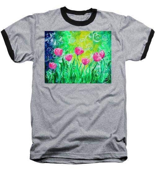 Dancing Tulips Baseball T-Shirt