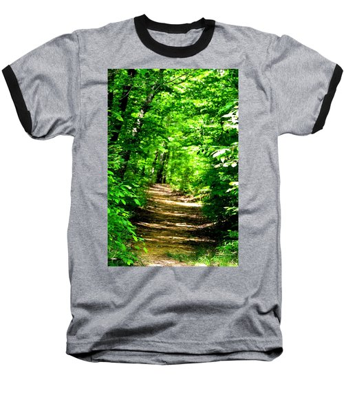 Dappled Sunlit Path In The Forest Baseball T-Shirt by Maria Urso