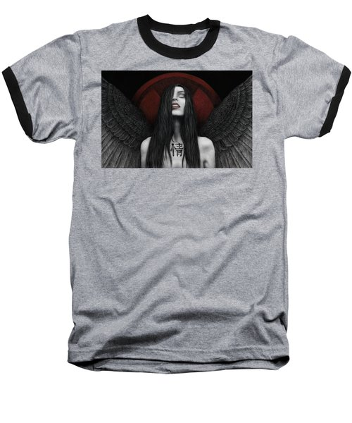 Baseball T-Shirt featuring the painting Dark Angel by Pat Erickson