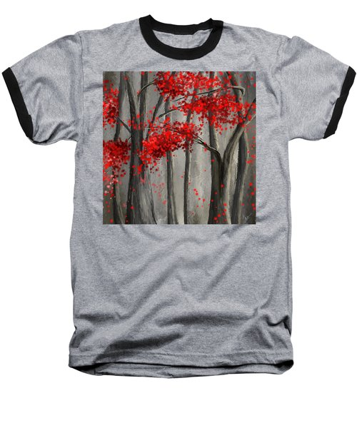 Dark Passion- Red And Gray Art Baseball T-Shirt