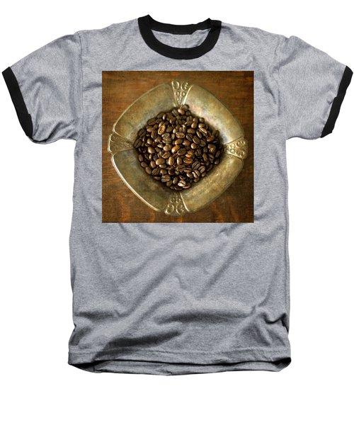 Dark Roast Coffee Beans And Antique Silver Baseball T-Shirt