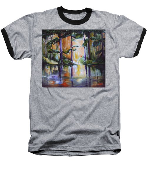 Baseball T-Shirt featuring the painting Dark Woods by Nadine Dennis