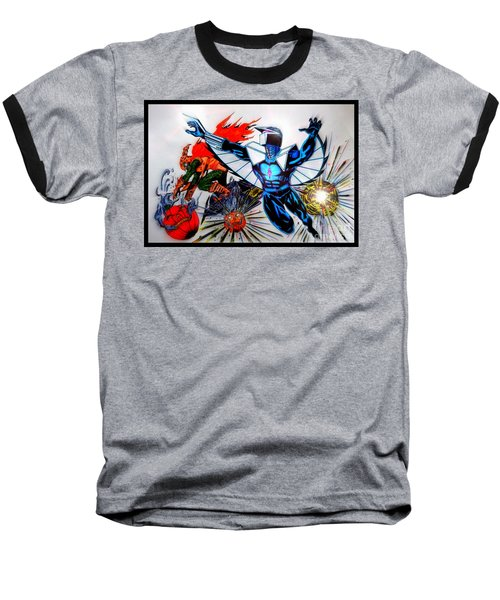 Darkhawk Vs Hobgoblin Focused Baseball T-Shirt by Justin Moore