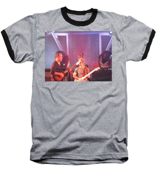 Baseball T-Shirt featuring the photograph Dave And Tim Jam On The Guitar by Aaron Martens