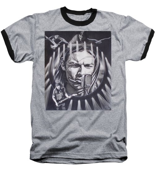 David Gilmour Of Pink Floyd - Echoes Baseball T-Shirt by Sean Connolly