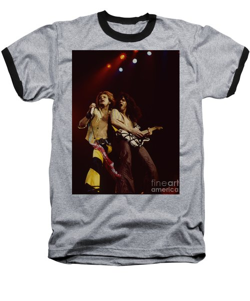 David Lee Roth And Eddie Van Halen - Van Halen- Oakland Coliseum 12-2-78   Baseball T-Shirt by Daniel Larsen