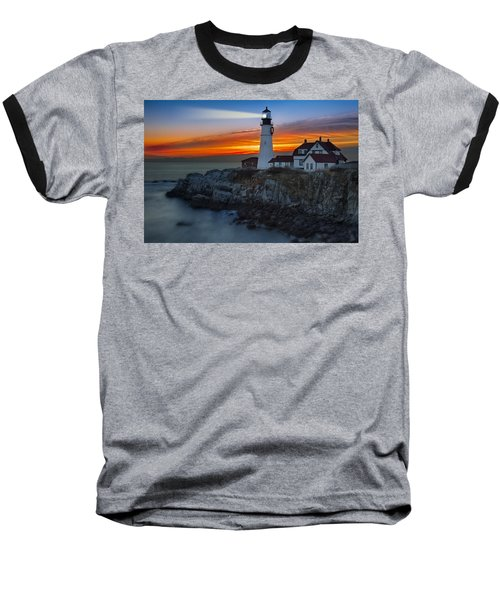 Dawn At Portalnd Head Light Baseball T-Shirt by Susan Candelario