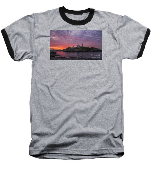 Dawn At The Nubble Baseball T-Shirt by Steven Ralser