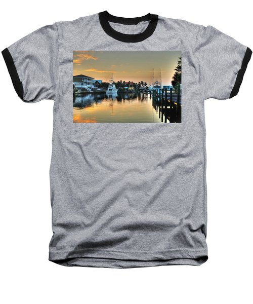 Dawn On A Orange Beach Canal Baseball T-Shirt