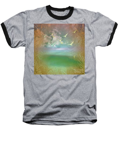 Day At The Beach Abstract Baseball T-Shirt by Judy Palkimas