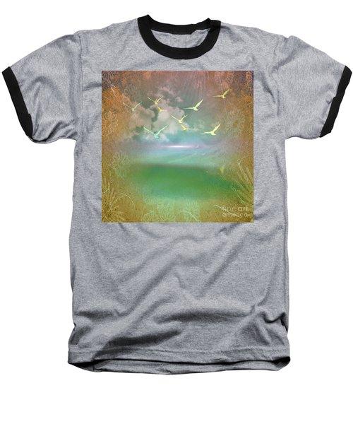 Day At The Beach Abstract Baseball T-Shirt