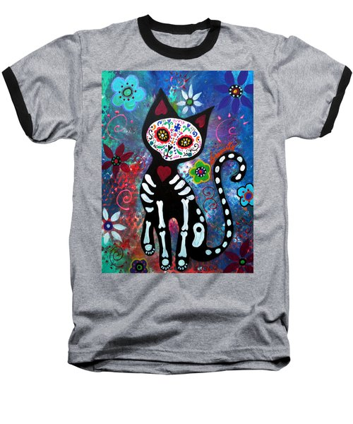 Day Of The Dead Cat Baseball T-Shirt