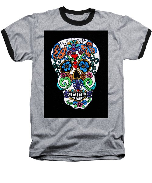 Day Of The Dead Skull Baseball T-Shirt by Genevieve Esson