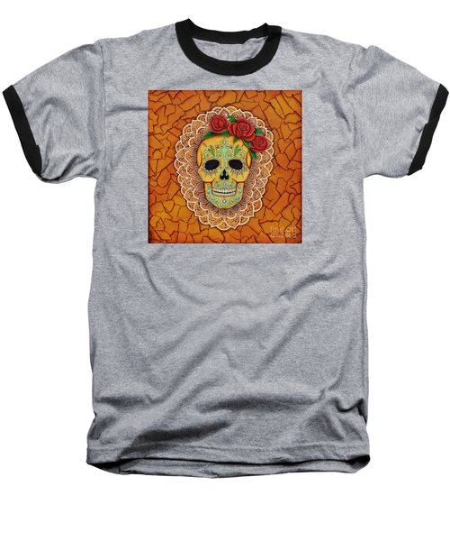 Day Of The Dead With Roses And Lace Baseball T-Shirt