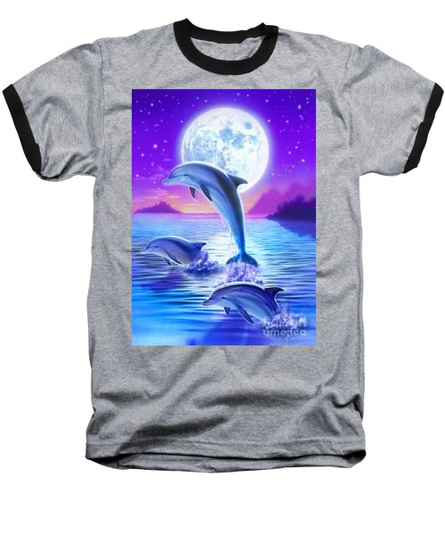 Day Of The Dolphin Baseball T-Shirt by Robin Koni