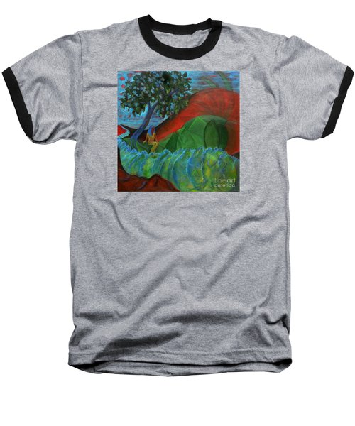 Baseball T-Shirt featuring the painting Uncertain Journey by Elizabeth Fontaine-Barr