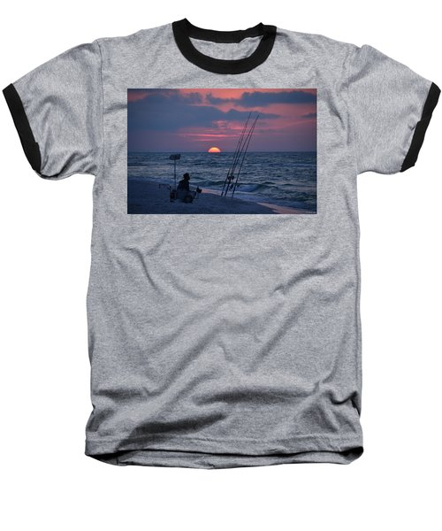 Baseball T-Shirt featuring the photograph Daybreak On Navarre Beach With Deng The Fisherman by Jeff at JSJ Photography
