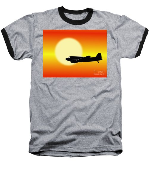 Dc-3 Passing Sun Baseball T-Shirt