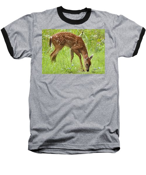 Baseball T-Shirt featuring the photograph Little Fawn Blue Wildflowers by Nava Thompson