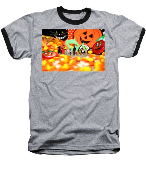 Death Takes His Kids Trick Or Treating Baseball T-Shirt by Lon Casler Bixby