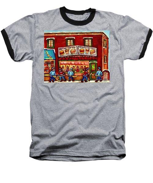 Decarie Hot Dog Restaurant Cosmix Comic Store Montreal Paintings Hockey Art Winter Scenes C Spandau Baseball T-Shirt
