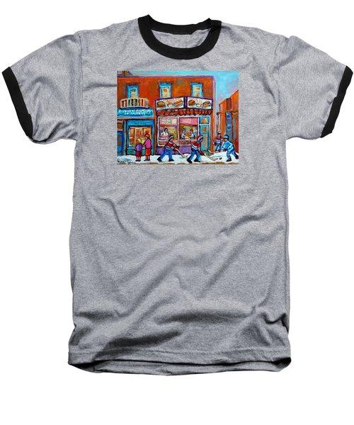Decarie Hot Dog Restaurant Ville St. Laurent Montreal  Baseball T-Shirt by Carole Spandau