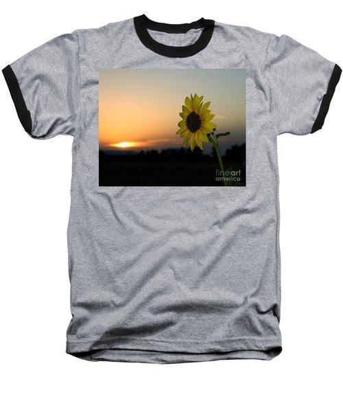 Baseball T-Shirt featuring the photograph Sunflower And Sunset by Mae Wertz