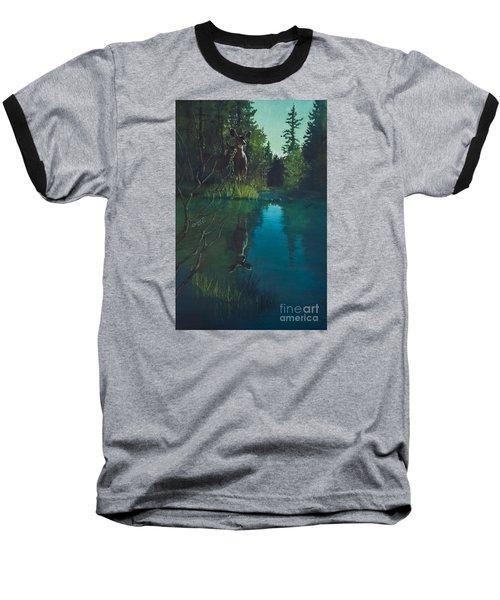 Deer Crossing Baseball T-Shirt by Rob Corsetti