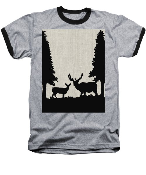 Deer In Forest Baseball T-Shirt by Enzie Shahmiri