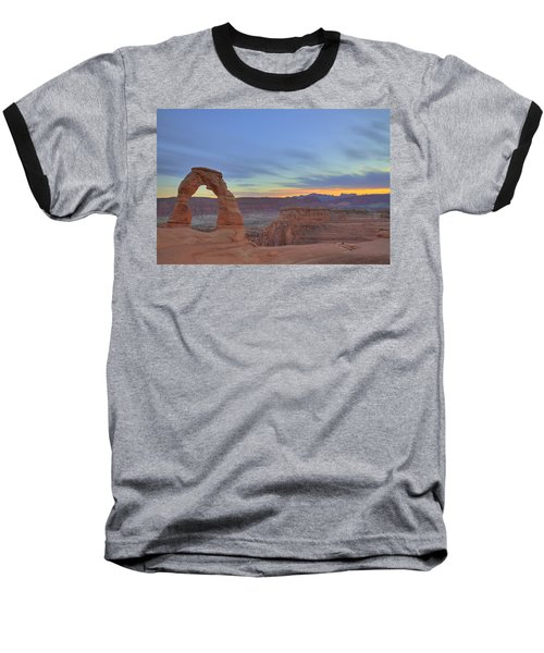 Baseball T-Shirt featuring the photograph Delicate Arch At Sunset by Alan Vance Ley