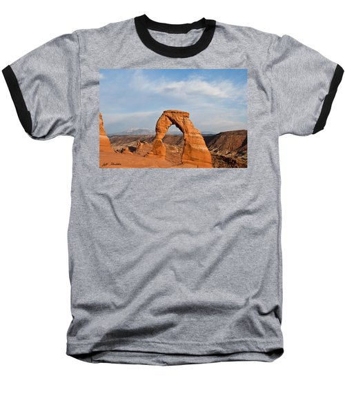 Baseball T-Shirt featuring the photograph Delicate Arch At Sunset by Jeff Goulden