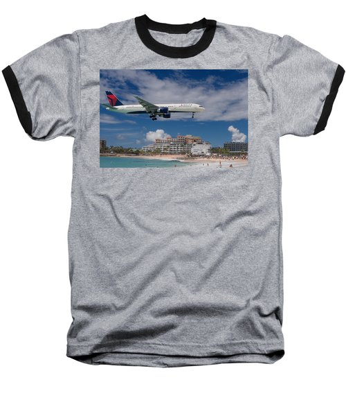 Delta Air Lines Landing At St. Maarten Baseball T-Shirt by David Gleeson