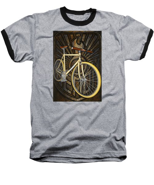 Baseball T-Shirt featuring the painting Demon Path Racer Bicycle by Mark Howard Jones