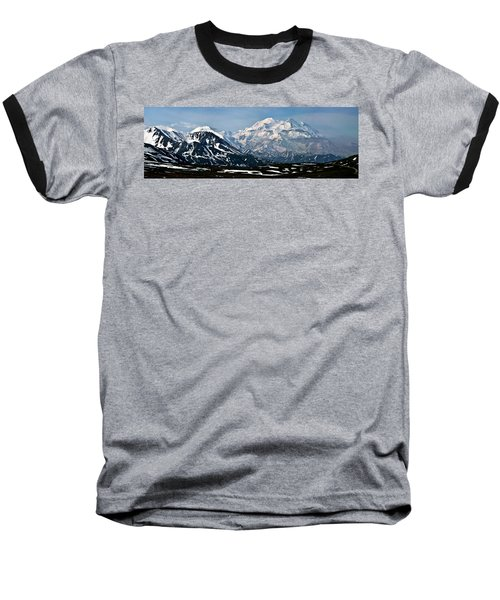 Denali National Park Panorama Baseball T-Shirt by John Haldane