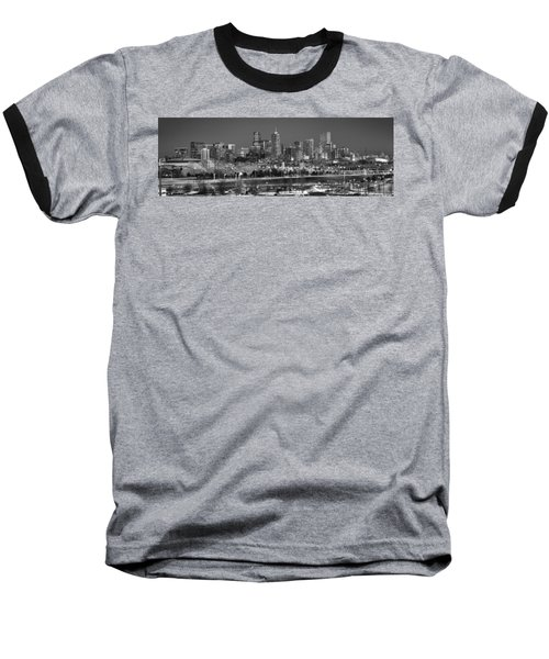 Baseball T-Shirt featuring the photograph Denver Skyline At Dusk Black And White Bw Evening Panorama Broncos Colorado  by Jon Holiday