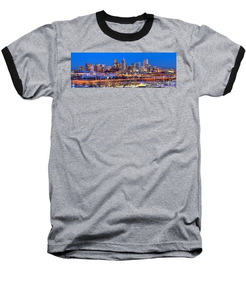 Baseball T-Shirt featuring the photograph Denver Skyline At Dusk Evening Color Evening Panorama Broncos Colorado  by Jon Holiday