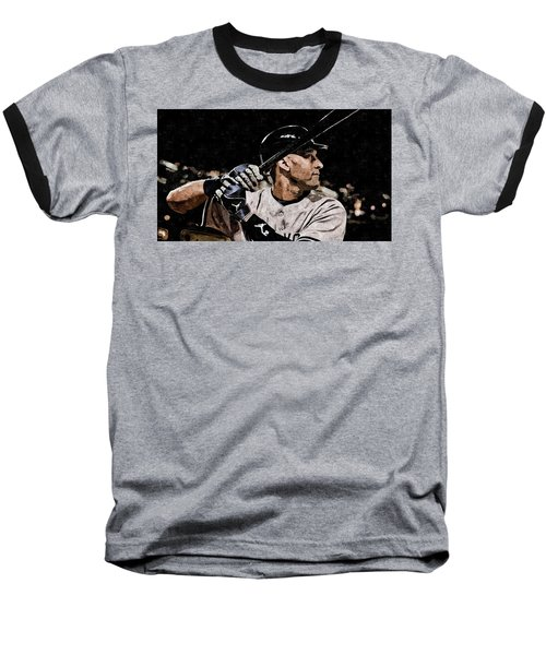 Derek Jeter On Canvas Baseball T-Shirt