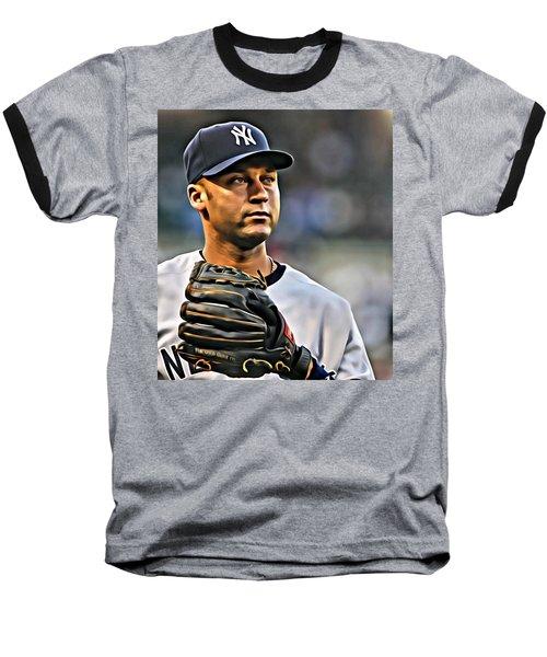 Derek Jeter Portrait Baseball T-Shirt by Florian Rodarte