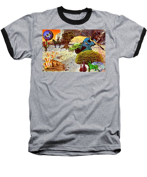 Baseball T-Shirt featuring the mixed media Desert Blues by Ally  White