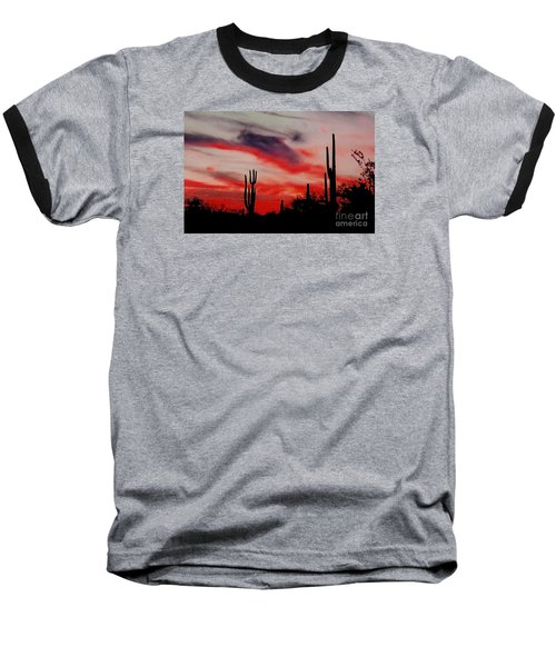 Desert Sunset Northern Lights Version 3 Baseball T-Shirt by Joseph Baril