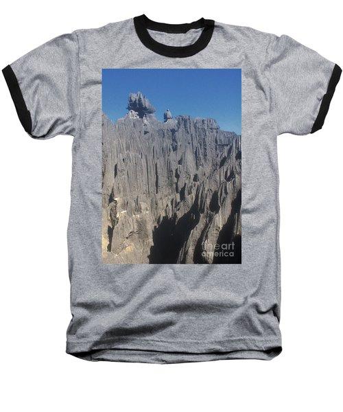 detail of the Tsingy de Bemaraha Madagascar Baseball T-Shirt by Rudi Prott