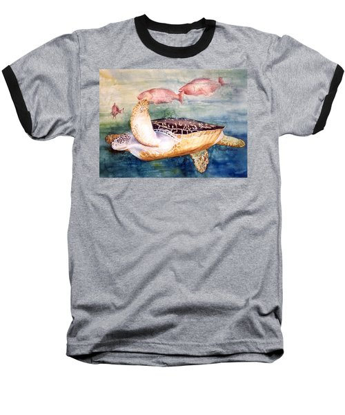 Baseball T-Shirt featuring the painting Determined - Loggerhead Sea Turtle by Roxanne Tobaison