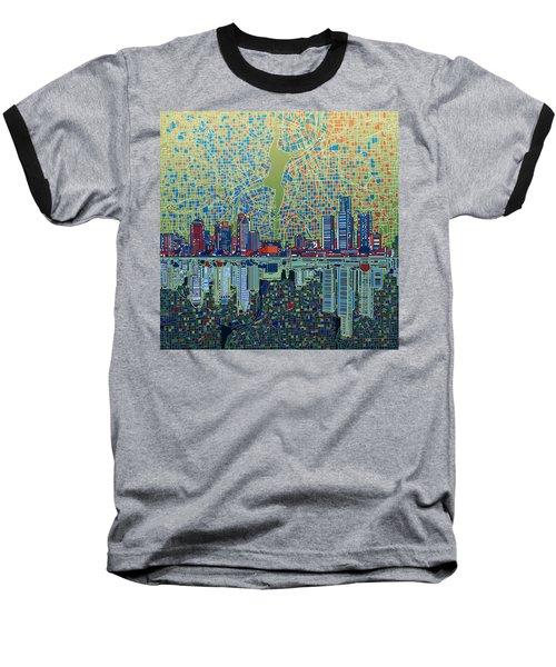 Detroit Skyline Abstract 3 Baseball T-Shirt by Bekim Art