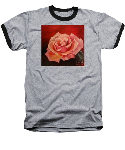 Baseball T-Shirt featuring the painting Dew Drops On Pink Rose by Jenny Lee