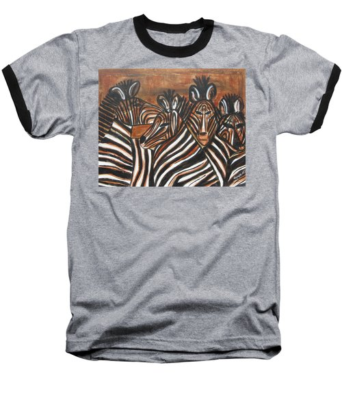 Zebra Bar Crowd Baseball T-Shirt by Diane Pape
