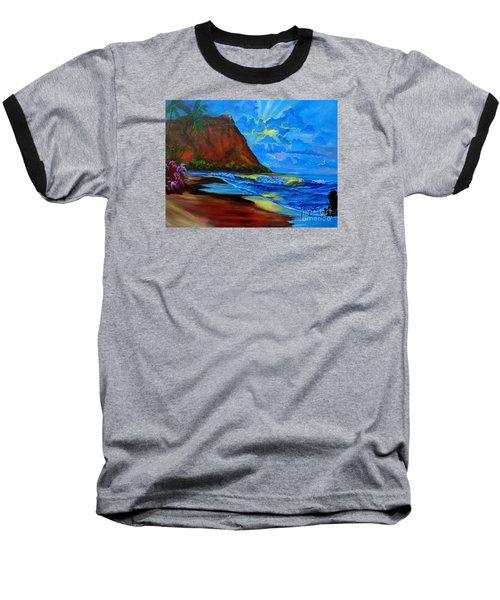 Diamond Head Blue Baseball T-Shirt by Jenny Lee